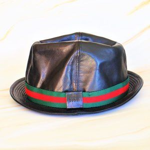 Gucci Shelly Line Black Leather Bucket Hat